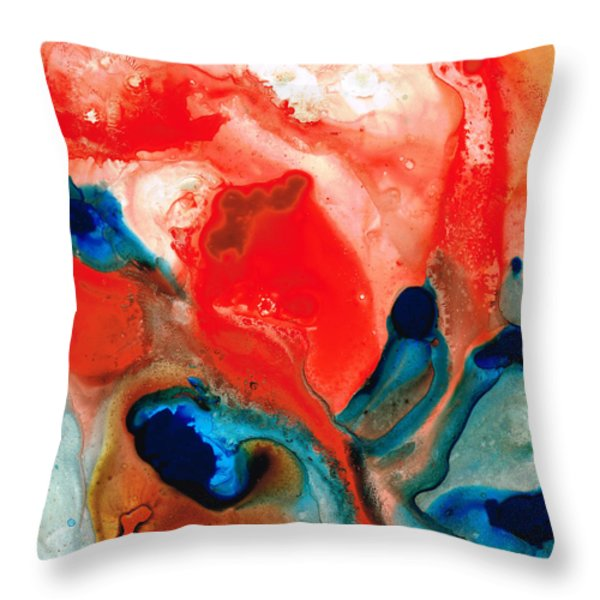 Life Force - Red Abstract By Sharon Cummings Throw Pillow by Sharon Cummings