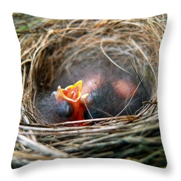 Life In The Nest Throw Pillow by Christina Rollo