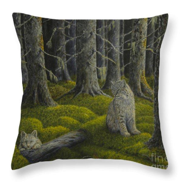Life in the woodland Throw Pillow by Veikko Suikkanen