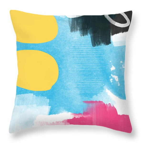 Life Is A Celebration-abstract Art Throw Pillow by Linda Woods