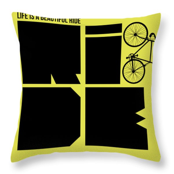 Life Is A Ride Poster Throw Pillow by Naxart Studio