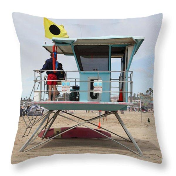 Lifeguard Shack At The Santa Cruz Beach Boardwalk California 5D23711 Throw Pillow by Wingsdomain Art and Photography