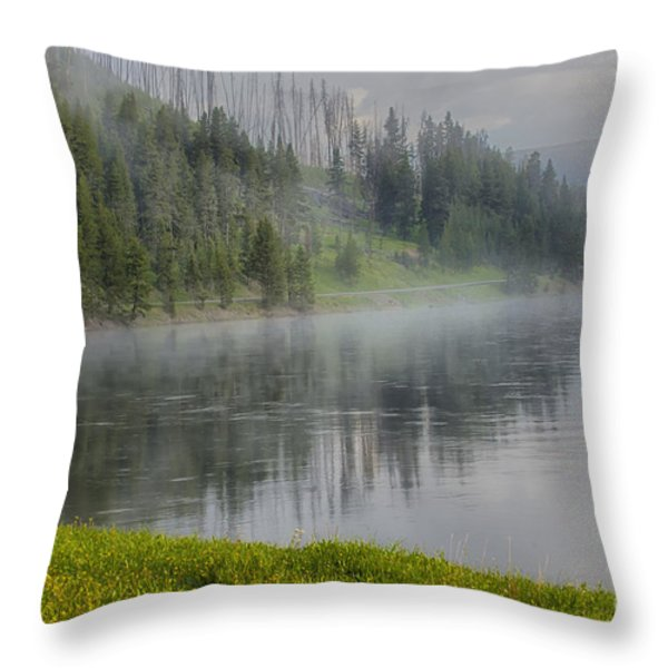 Lifting Fog On The Yellowstone River Throw Pillow by Sandra Bronstein