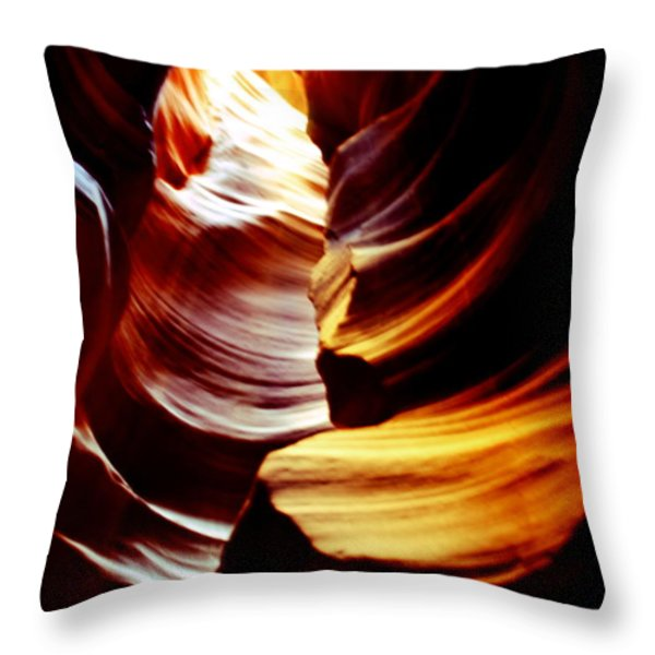 Light From Above - Canyon Abstract Throw Pillow by Aidan Moran