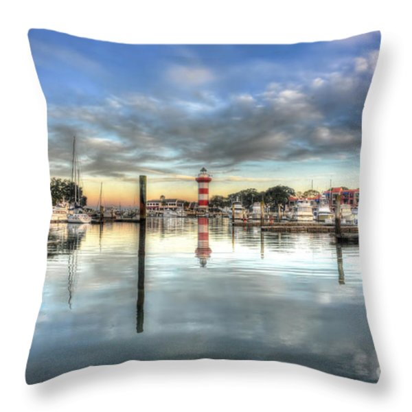 light house harbour town Hilton Head Throw Pillow by Dan Friend