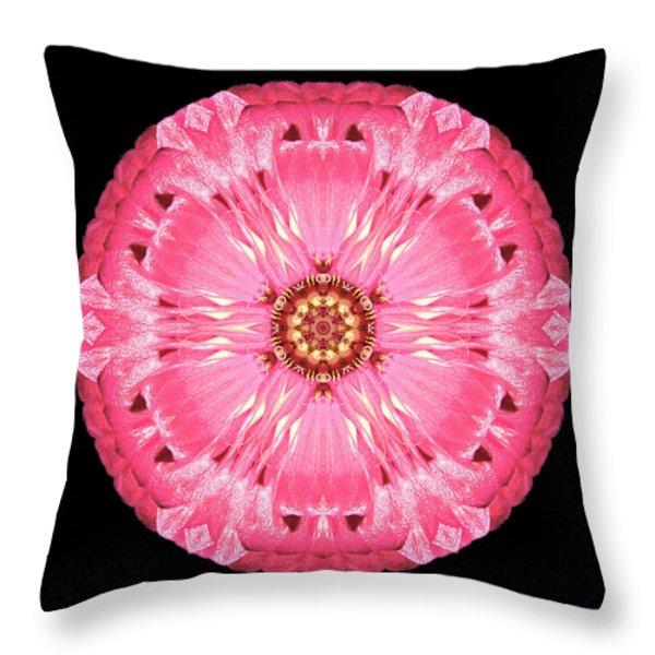 Light Red Zinnia Elegans Flower Mandala Throw Pillow by David J Bookbinder