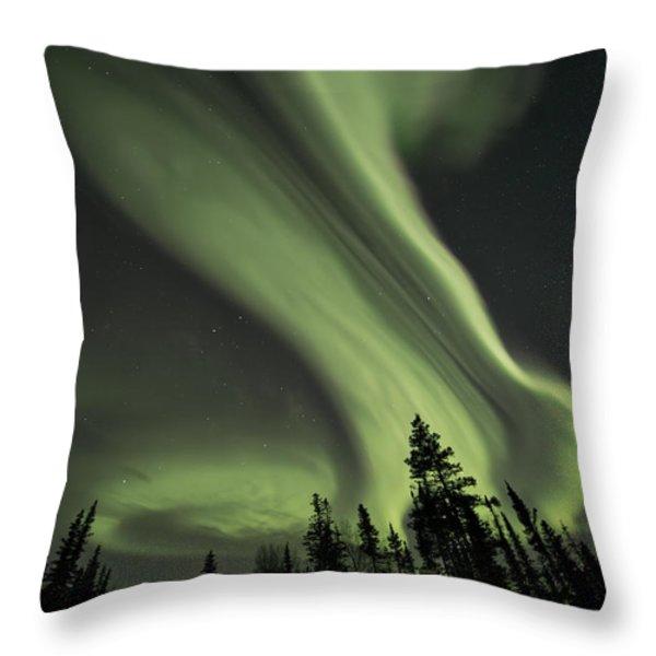 Light Swirls Over The Midnight Dome Throw Pillow by Priska Wettstein