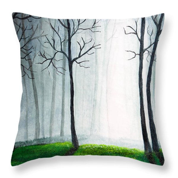 Light Through The Forest Throw Pillow by Nirdesha Munasinghe