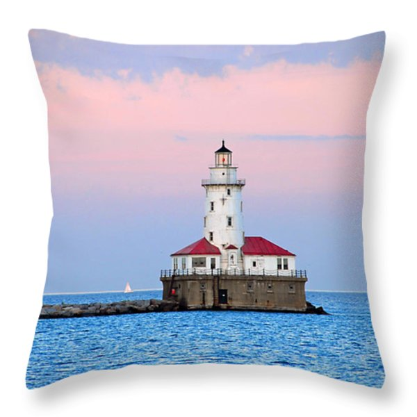 Lighthouse At The Navy Pier Throw Pillow by Lynn Bauer