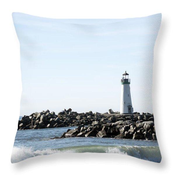 Lighthouse Breaker Santa Cruz California Throw Pillow by Barbara Snyder