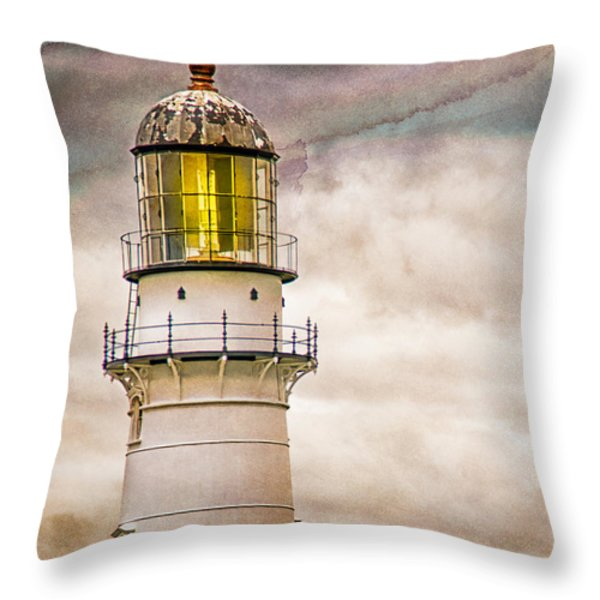 Lighthouse Cape Elizabeth Maine Throw Pillow by Bob Orsillo