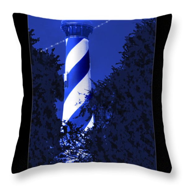 Lighthouse In Blue Throw Pillow by Mike McGlothlen