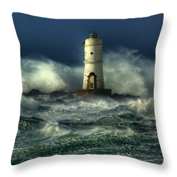 Lighthouse In The Storm Throw Pillow by Gianfranco Weiss