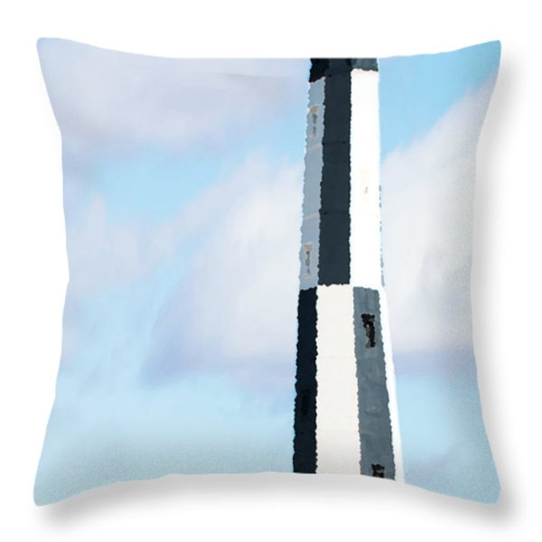 Lighthouse Living - New Cape Henry Lighthouse Throw Pillow by Gregory Ballos