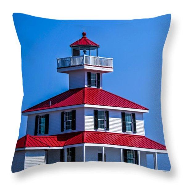 Lighthouse Pontchartrain Throw Pillow by Renee Barnes