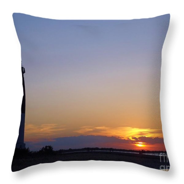 Lighthouse Sunset Throw Pillow by Michelle Milano