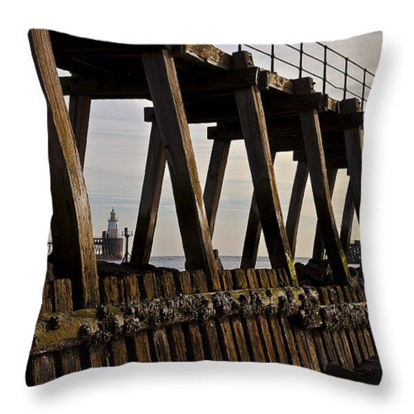 Lighthouse Through The Wooden Pier Throw Pillow by Jim Jones