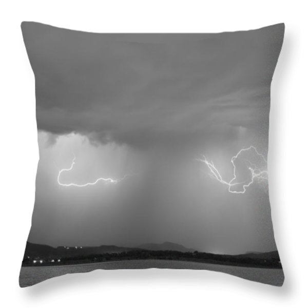 Lightning And Rain Over Rocky Mountain Foothills Bw Throw Pillow by James BO  Insogna