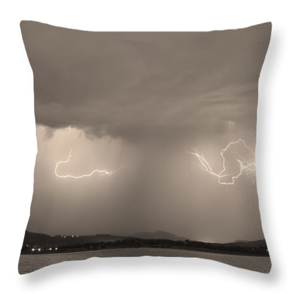 Lightning and Sepia Rain Over Rocky Mountain Foothills Throw Pillow by James BO  Insogna
