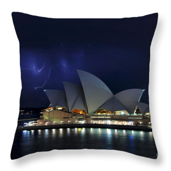 Lightning behind The Opera House Throw Pillow by Kaye Menner