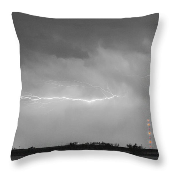 Lightning Bolting Across the Sky BWSC Throw Pillow by James BO  Insogna