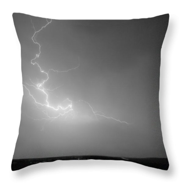 Lightning Goes Boom In The Middle Of The Night Bw Throw Pillow by James BO  Insogna