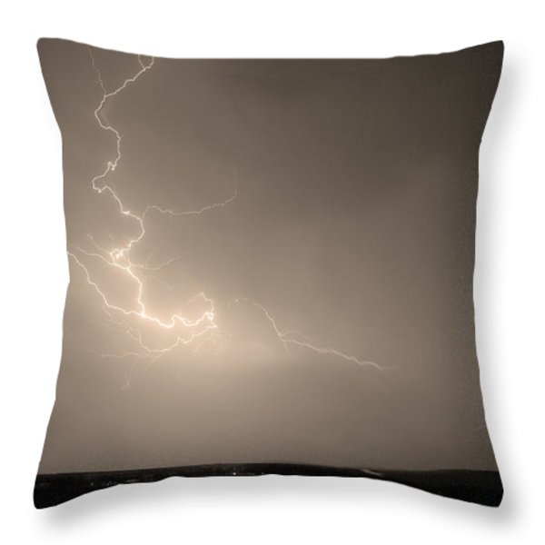 Lightning Goes Boom In The Middle of The Night Sepia Throw Pillow by James BO  Insogna