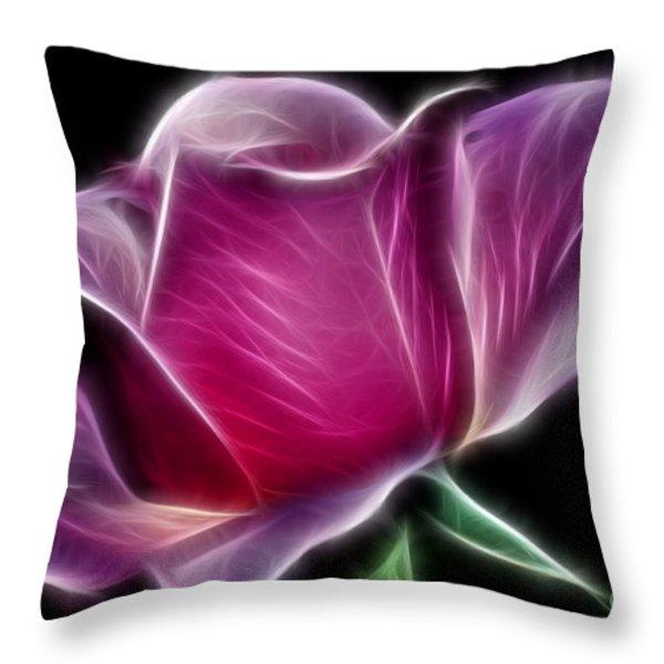 Lightning Rose Throw Pillow by Kaye Menner