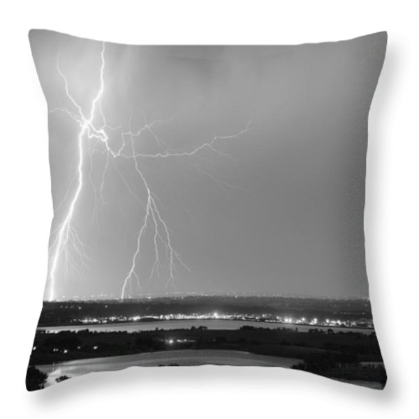Lightning Strike Boulder Reservoir And Coot Lake Bw Throw Pillow by James BO  Insogna