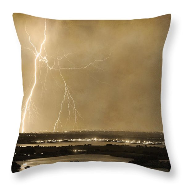 Lightning Strike Boulder Reservoir And Coot Lake Sepia 2 Throw Pillow by James BO  Insogna