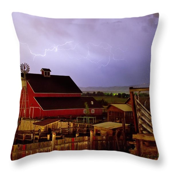 Lightning Strikes Over The Farm Throw Pillow by James BO  Insogna