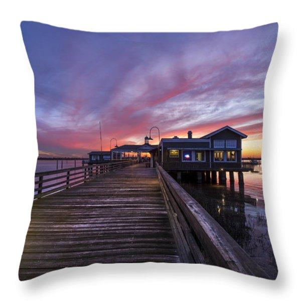 Lights On The Dock Throw Pillow by Debra and Dave Vanderlaan