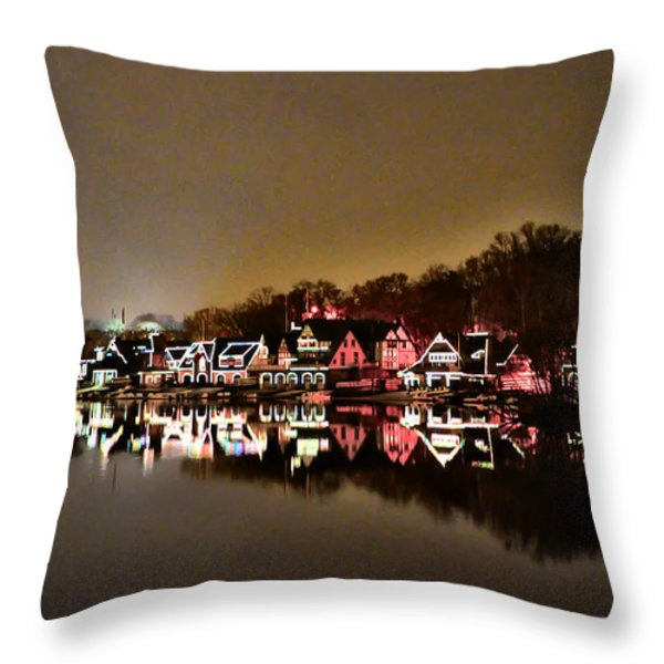 Lights On The Schuylkill River Throw Pillow by Bill Cannon