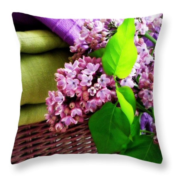 Lilac Still Life Throw Pillow by Lainie Wrightson