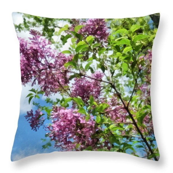 Lilacs And Clouds Throw Pillow by Susan Savad