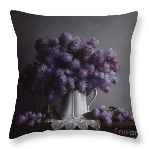LILACS study no.2 Throw Pillow by Larry Preston