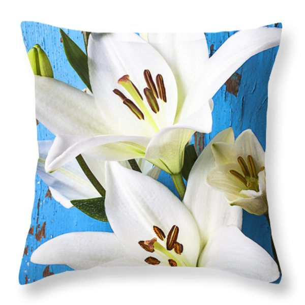 Lilies against blue wall Throw Pillow by Garry Gay