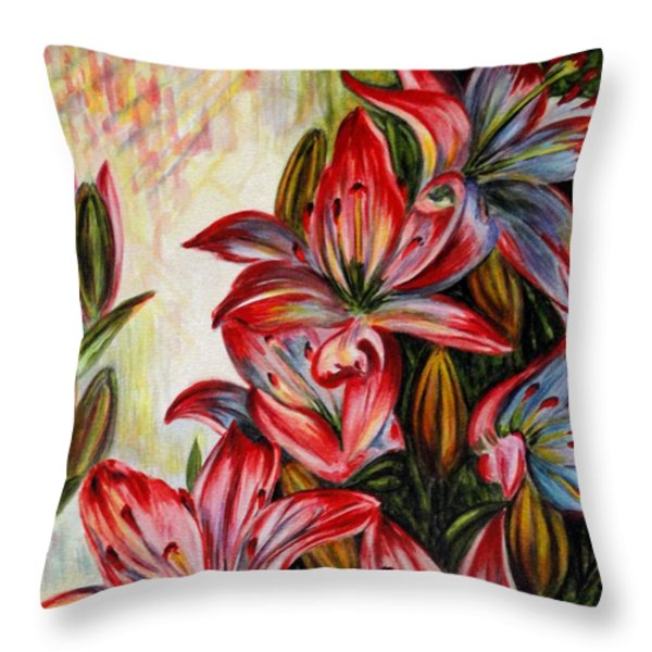 Lilies Throw Pillow by Harsh Malik