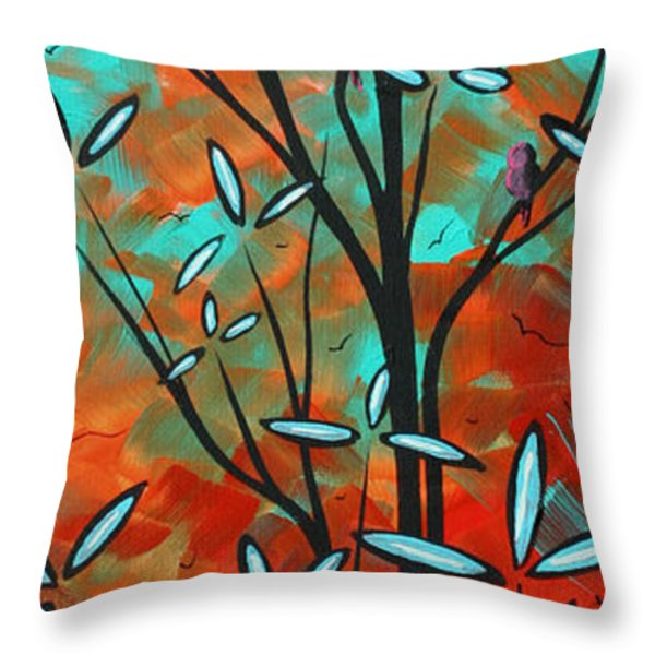 Lilly Pulitzer Inspired Abstract Art Colorful Original Painting Spring Blossoms By Madart Throw Pillow by Megan Duncanson