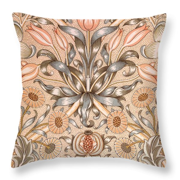 Lily and Pomegranate wallpaper design Throw Pillow by William Morris