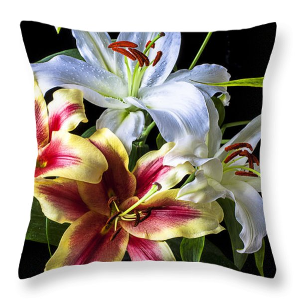 Lily bouquet Throw Pillow by Garry Gay
