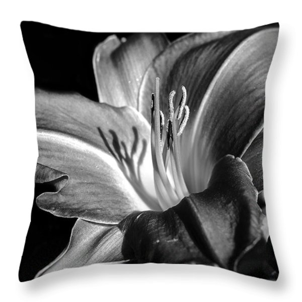 Lily In Black In White Throw Pillow by Camille Lopez