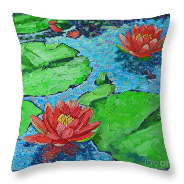 Lily Pond Impression Throw Pillow by Ana Maria Edulescu