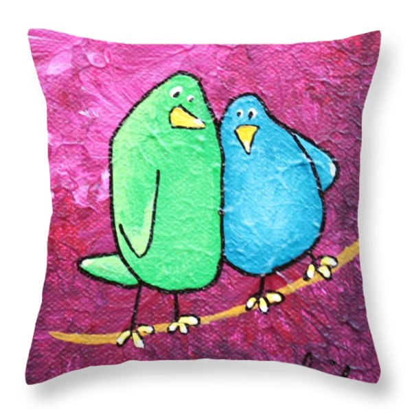 Limb Birds - Green And Turq Throw Pillow by Linda Eversole