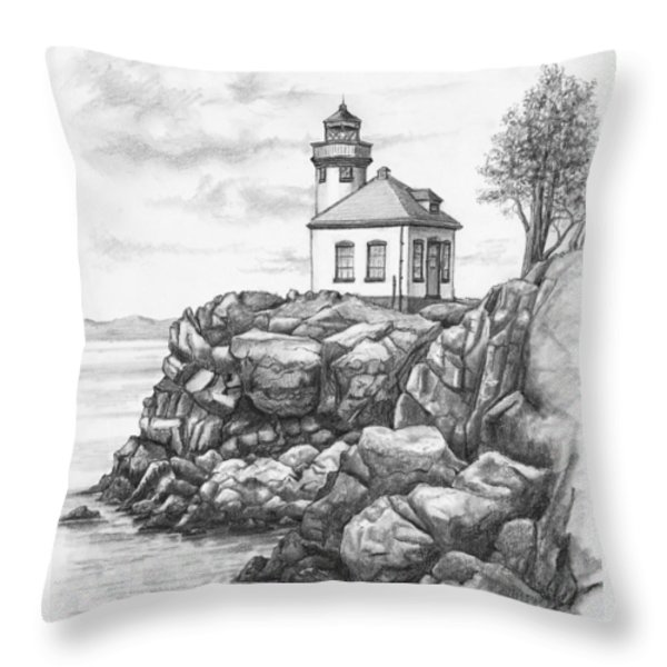 Lime Kiln Lighthouse Throw Pillow by Kim Lockman