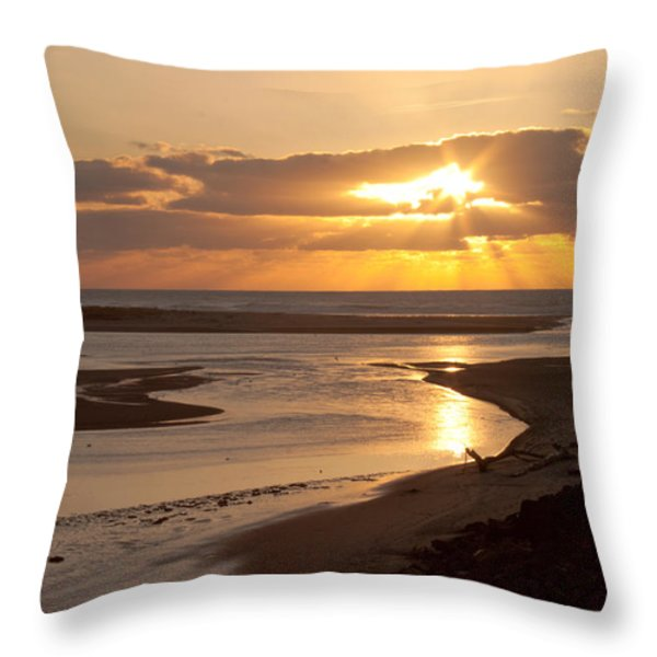 Lincoln City Sunset Throw Pillow by John Daly