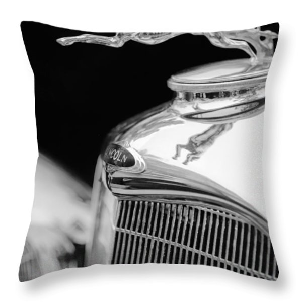 Lincoln Hood Ornament - Grille Emblem -1187bw Throw Pillow by Jill Reger