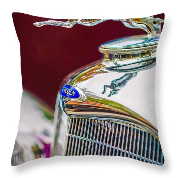 Lincoln Hood Ornament - Grille Emblem -1187c Throw Pillow by Jill Reger