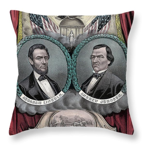 Lincoln Johnson Campaign Poster Throw Pillow by Marvin Blaine
