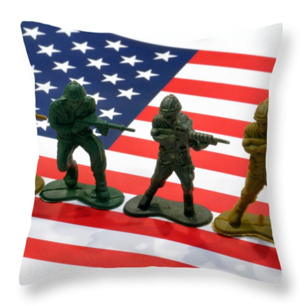 Line of Toy Soldiers on American Flag Crisp Depth of Field Throw Pillow by Amy Cicconi